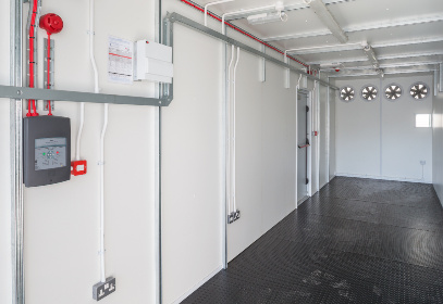 White Container Interior with Fans