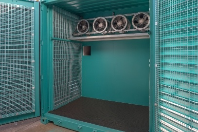 Green Container with Four Fans