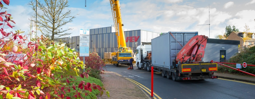 Landscape of Coventry University container drop off