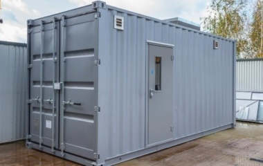 Grey Container with Air Vents and Door