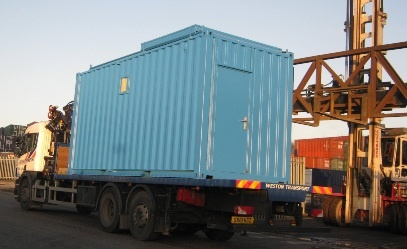Blue container ready for transportation