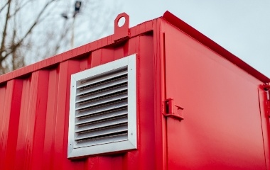Red Container with Silver Air Vent