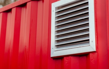 Red Shipping Container with Air Vent