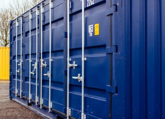 Close up of dark blue container