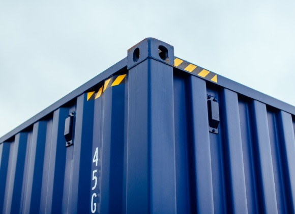 Top corner view of blue container