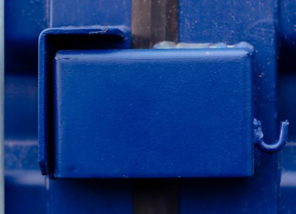 Lock on blue door