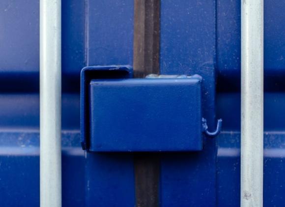 Blue container door lock