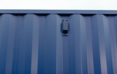Top side view of blue container