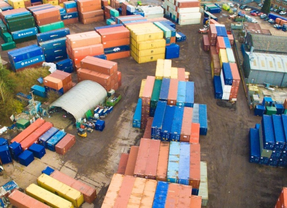 Drone shot of container yard