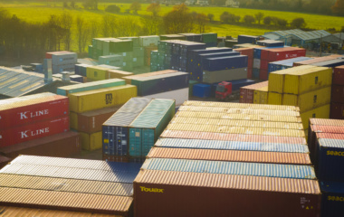 Container tops in the sun