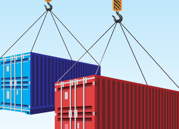 Container transportation illustration