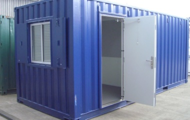 Blue container with door open and window shutters