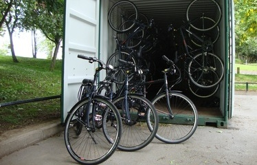 Bikes inside container