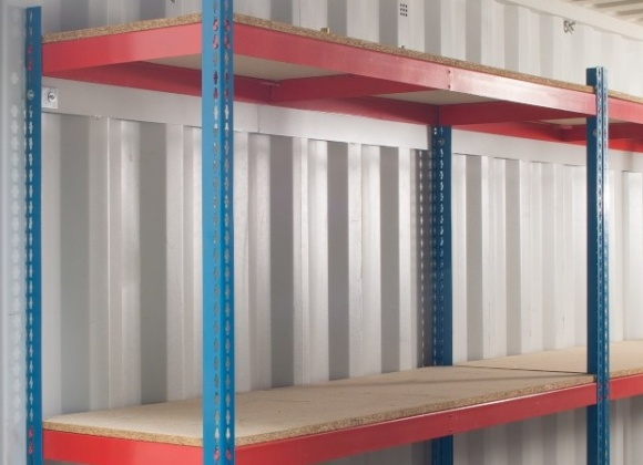 Shelving of a container with white interior