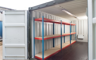 Red and blue container shelving