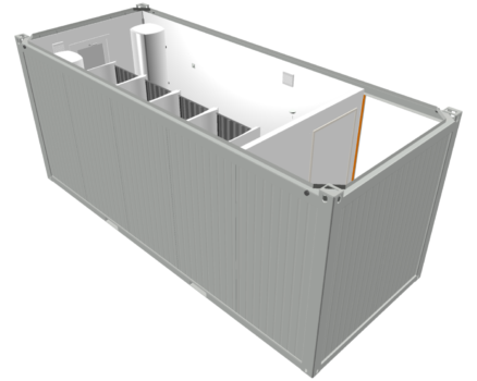 Shipping Container with Cubicles