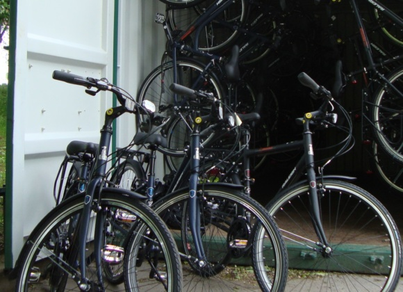 Bikes inside green shipping container