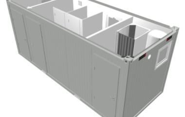 Grey Container with Cubicles Aerial View