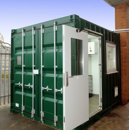 Small green container white door