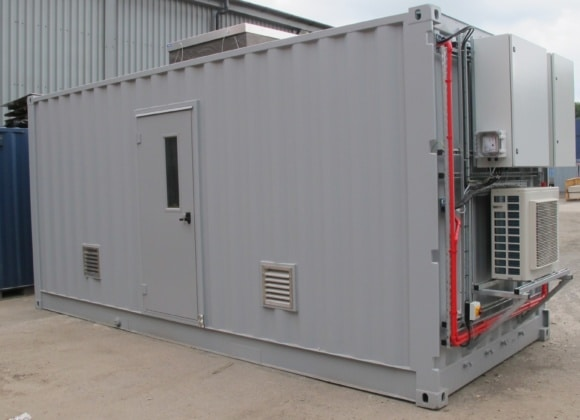 Small grey shipping container