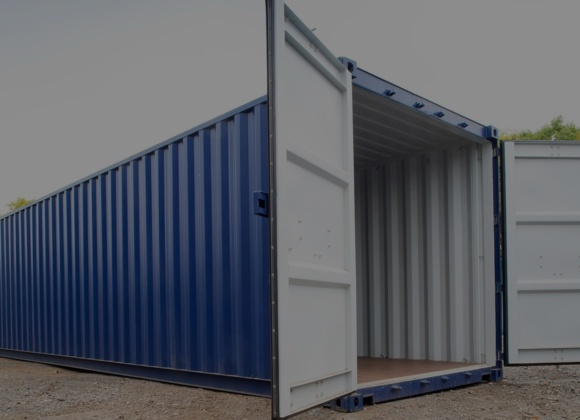 Large blue container grey interior