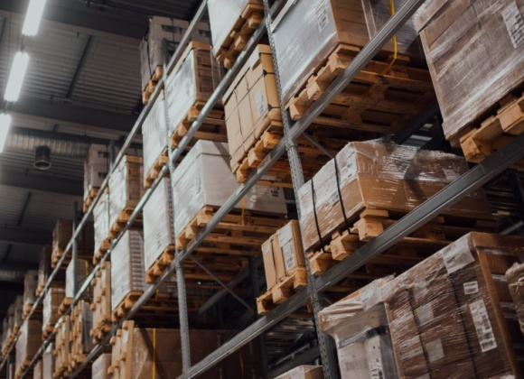 Bricks on shelves