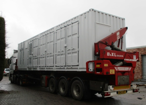 Shipping container on lorry