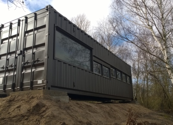 Shipping container with large windows