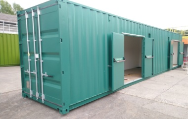 Shipping container with fire doors open
